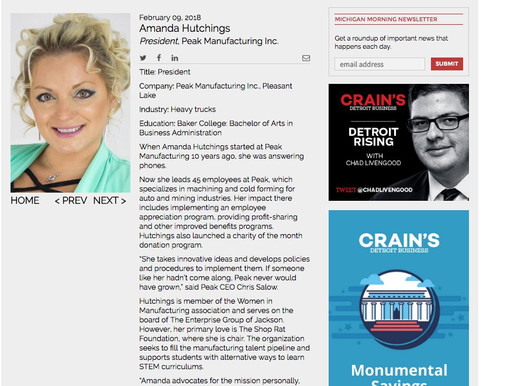 Amanda Hutchings, named a 2018 'Notable Woman in Manufacturing'  by Crains Detroit Business