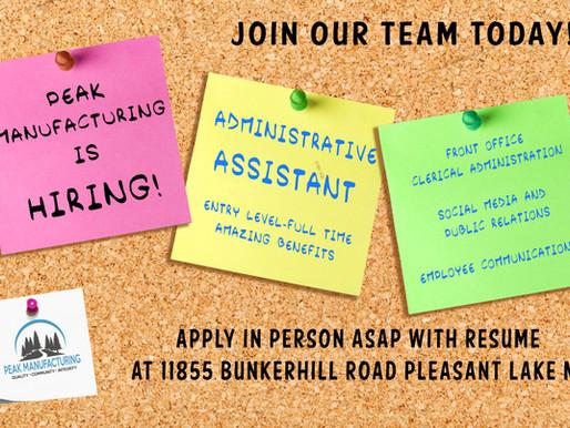 Peak is Hiring- Administrative Assistant