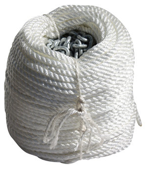 75MTRS OF 8MM ROPE+8m of 6mm chain