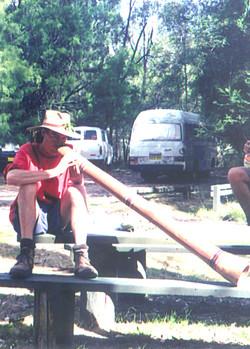 Johnnie Mac plays didgeridoo