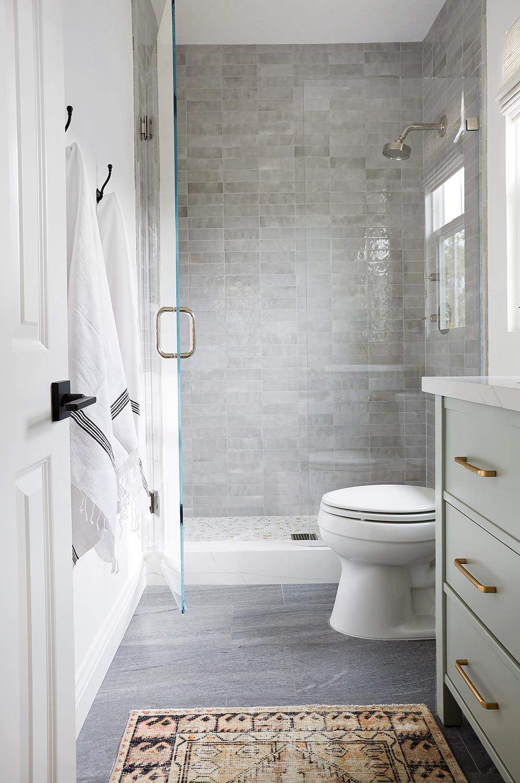 bathroom with handmade tile shower by Lindsey Brooke Design