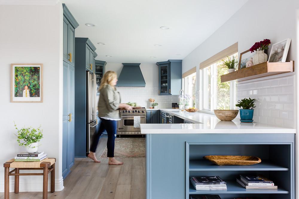 dusty blue kitchen cabinets