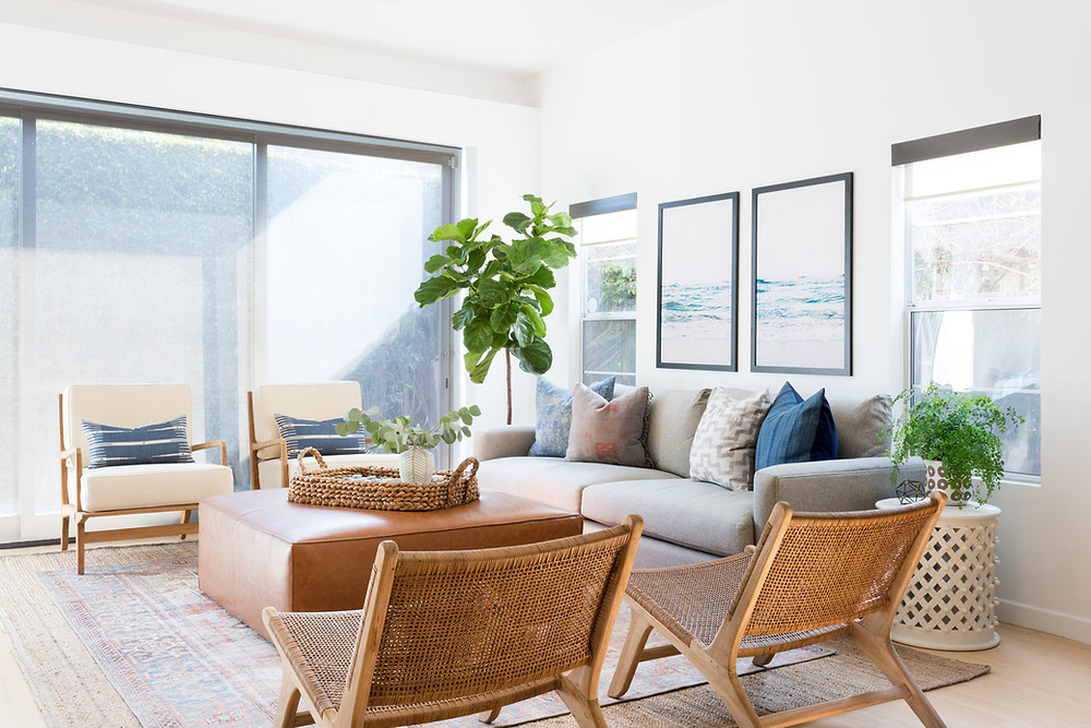 cozy living space with woven chairs