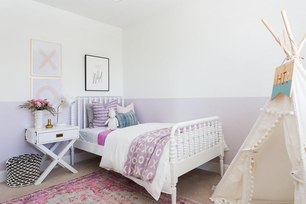 girls bedroom with purple paint