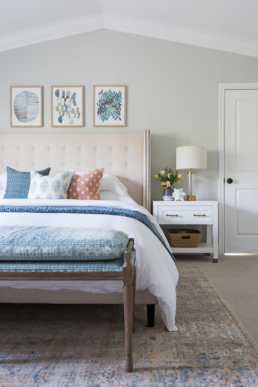 cozy primary bedroom by Lindsey Brooke Design