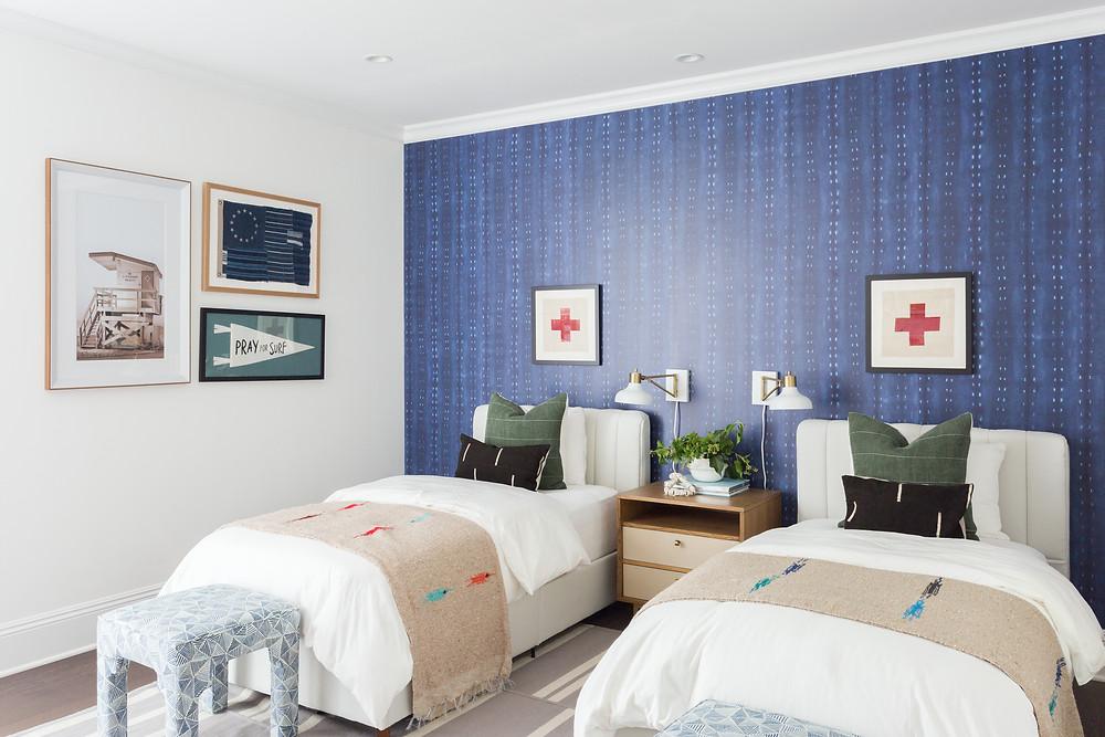 boys bedroom with wallpaper