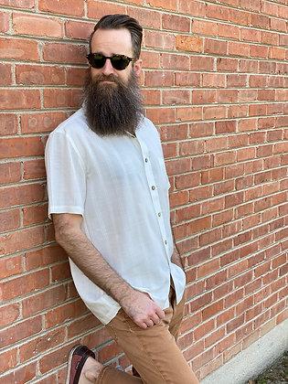 Cream Hemp Stripe Short Sleeve Button-Up