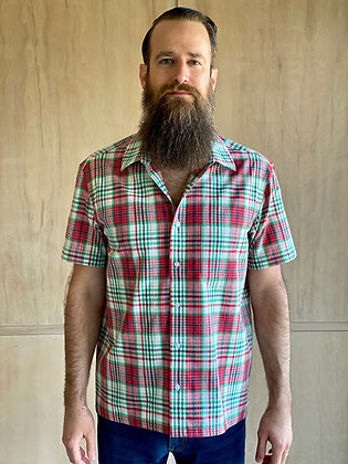 Red Multi Plaid Short Sleeve Button-Up