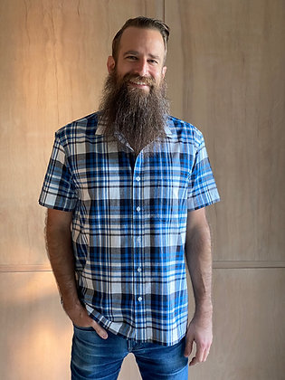 New Blue Plaid Short Sleeve Button-Up