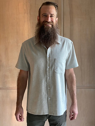 Pebble Flannel Short Sleeve Button-Up