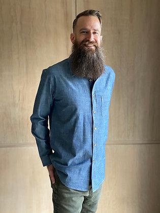 Blue Denim Long Sleeve Button-Up