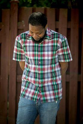 Pine Multi Plaid Short Sleeve Button-Up