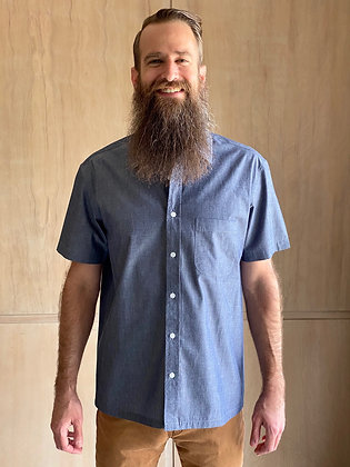 Gravel Chambray Short Sleeve Button-Up
