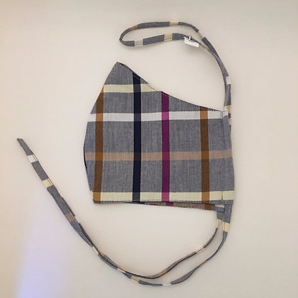 Gray Plaid Face Mask
