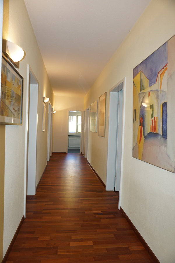 corridor to private rooms, bathrooms