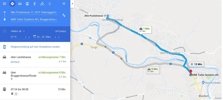 Weg zur ABB in Baden