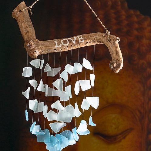 """Beach glass chimes: """"Love"""""""