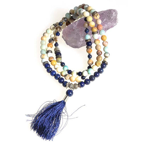 108 bead 8mm Mala: Amazonite and Lapis