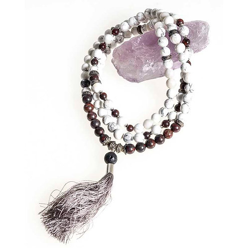108 bead 8 mm Mala: Howlite and Jasper