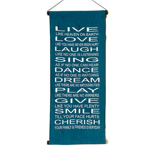 Live Love Wall-Hanging: Blue
