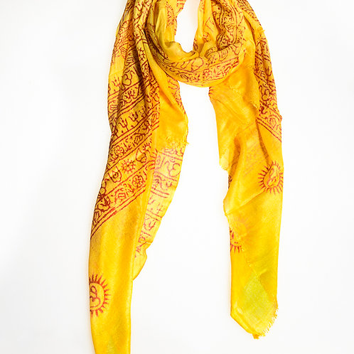 "Cotton ""OM"" B Scarf - Yellow"