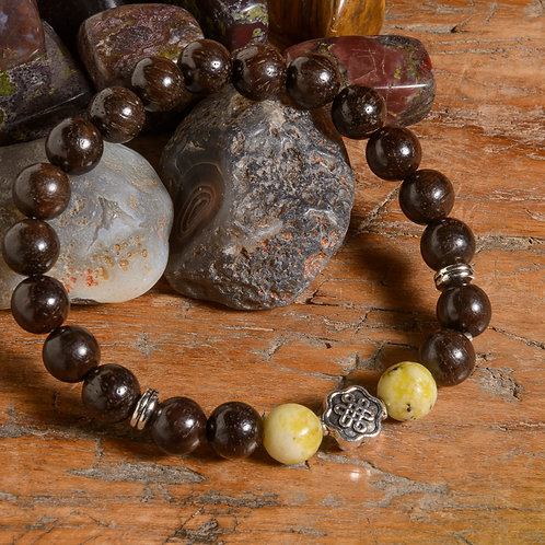 Dark Rosewood & Yellow Turquoise Lotus mala