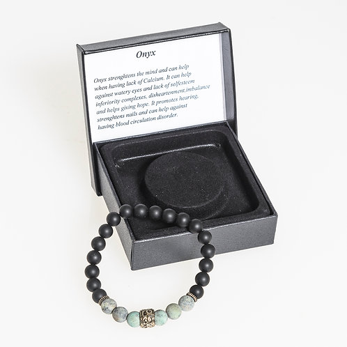 Onyx & Turquoise Vajra  Mala