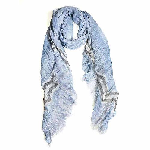 Cotton  Woven Scarf - Blue/grey