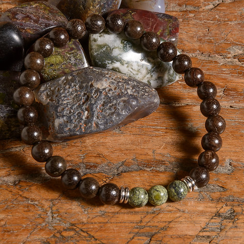 Dark rosewood & Serpentine Lotus mala
