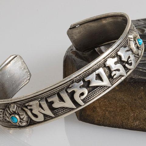 Silver plated mani mantra bracelet