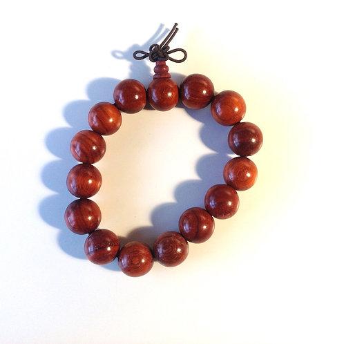 Bracelet-mala (hommes/men): bois brun-rouge/red-brown wood