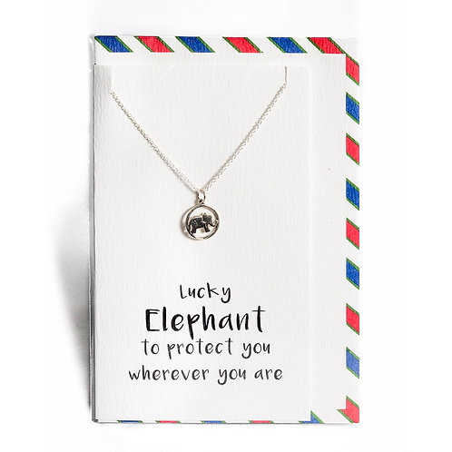Protection Elephant Affirmation Necklace