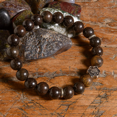Dark Rosewood & Tiger Eye Lotus mala
