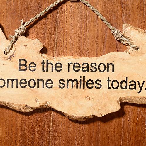 """Wooden affirmation: """"Smile"""""""