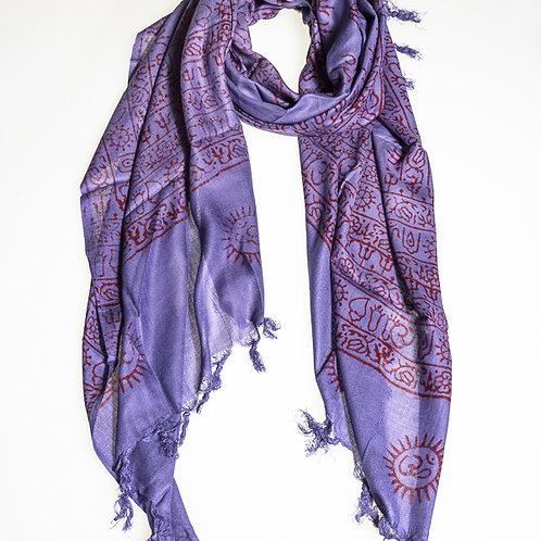 """Cotton """"OM"""" A scarf - Violet"""