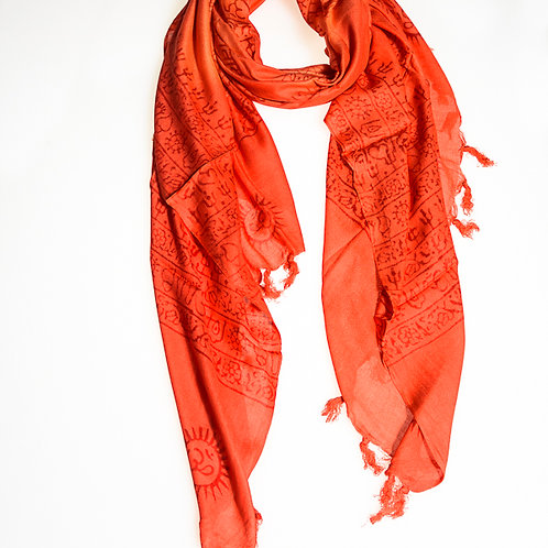 "Cotton ""OM"" A scarf - Red"