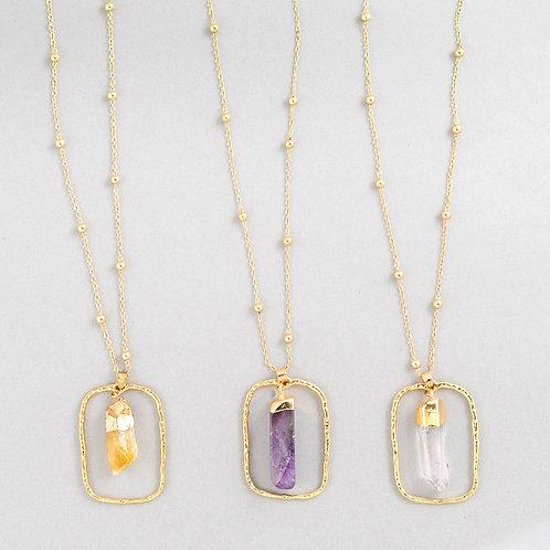 Oval Crystal Spar Necklace