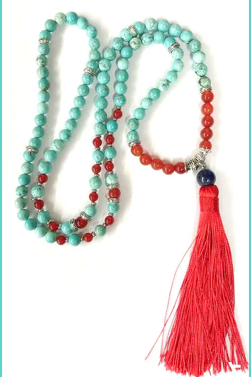 Turquoise & Garnet:108 MM Mala