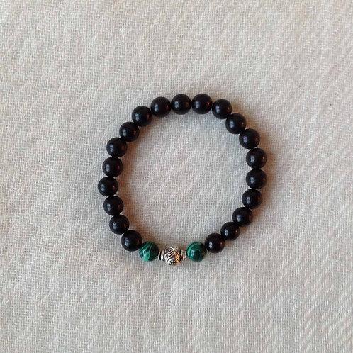 bracelet-mala (turquoise,bois de rose/rosewood)