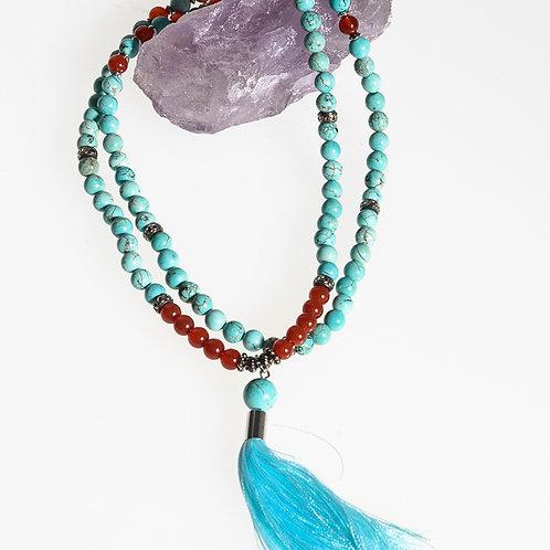 108 bead 8mm Mala: Turquoise and Carnelian