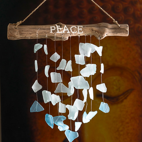 "Beach glass chimes: ""Peace"" (Small)"