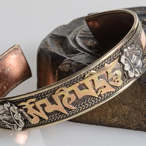 Brass & silver plated mani mantra bracelet
