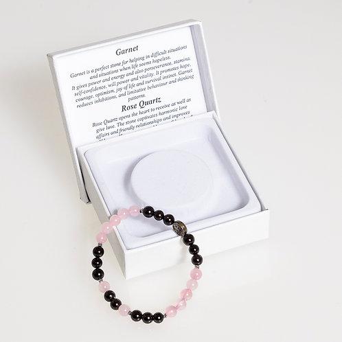 Garnet & Rose Quartz Bracelet: Small