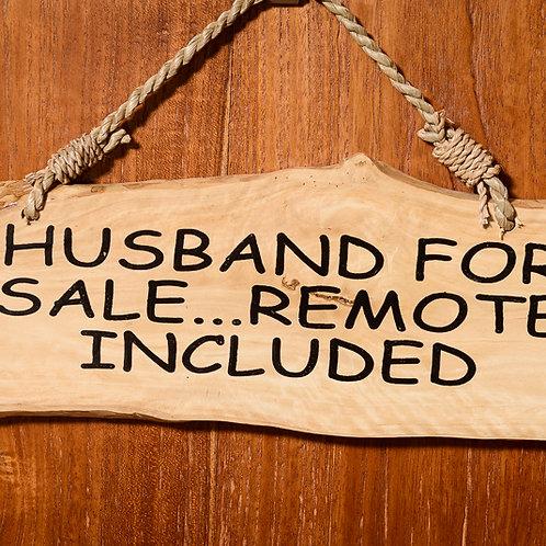 """Wooden affirmation: """"Husband for Sale"""""""