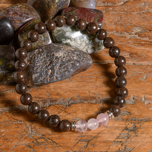Dark rosewood & Rose Quartz Lotus mala