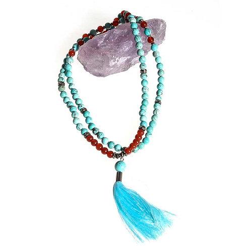 108 bead 6mm Mala: Turquoise and Carnelian