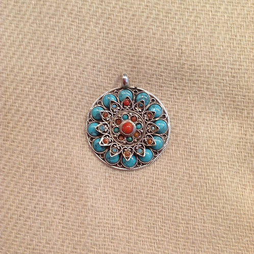 Lotus Pendentif en argent/ Silver Lotus pendent: turquoise, corail/coral