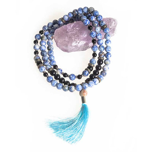 108 bead 8mm Mala : Sodalite and Lava