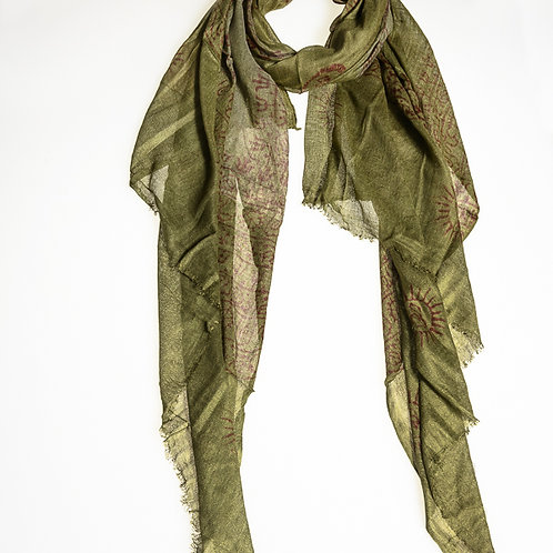 Om B Cotton Scarf - Olive Green