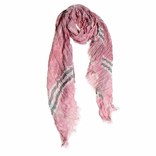 Cotton Woven Scarf - Rose/Grey